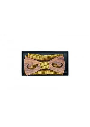 Бабочка деревянная с желтой отделкой и платочком