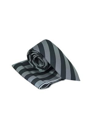 Черно серый в полоску галстук с платком