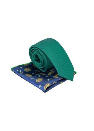 Зеленый галстук с синим платком