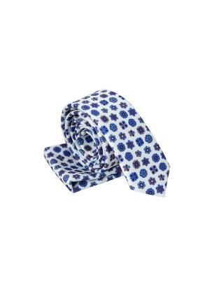 Белый в рисунок галстук с платком