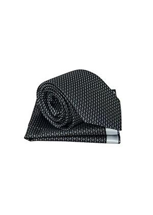 Черный в белую крапинку галстук с платком