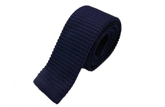 Галстук вязаный синий