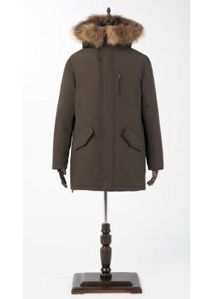 Куртка зимняя оливковый цвет с мехом