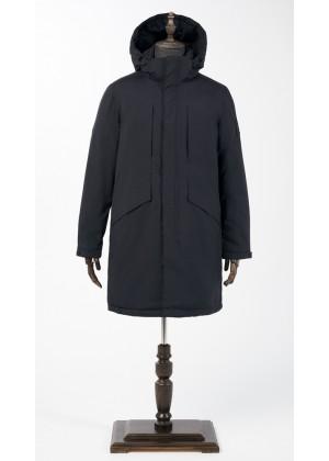 Куртка - парка синяя удлиненная