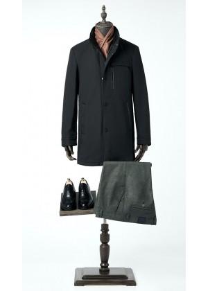Куртка - пальто синяя удлиненная утепленная