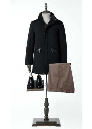 Куртка зимняя черная силуетная без капюшона