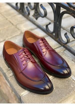 Туфли дерби бордовые