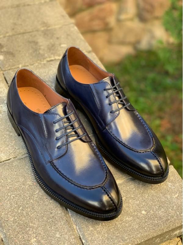 Туфли дерби синие с подчерченным носиком