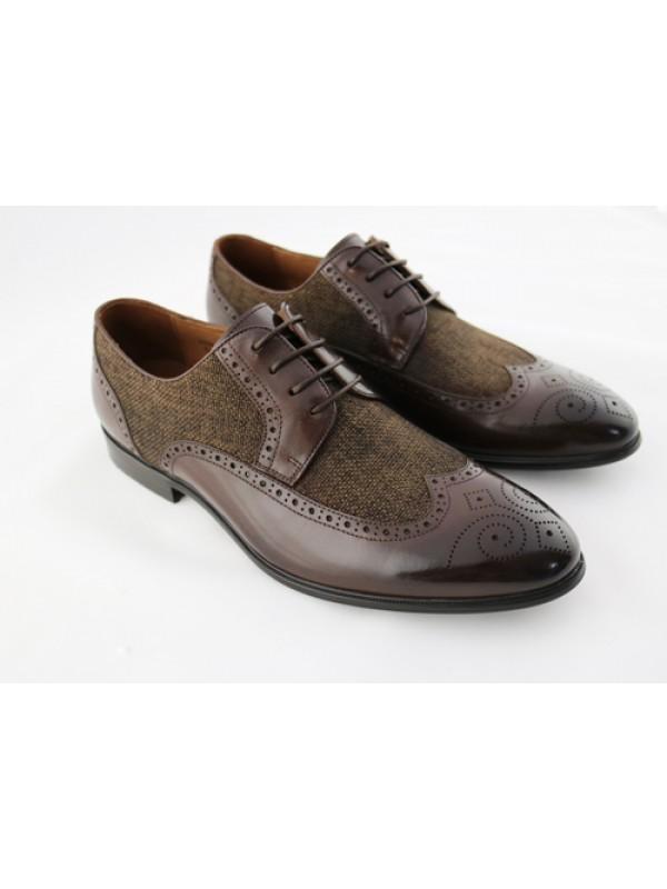 Туфли коричневые с тканевой вставкой
