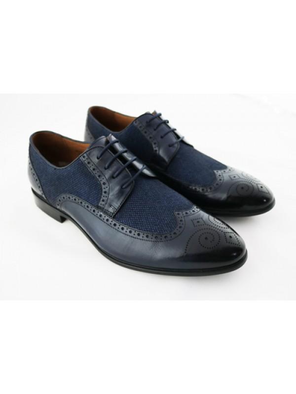 Туфли синие с тканевой вставкой