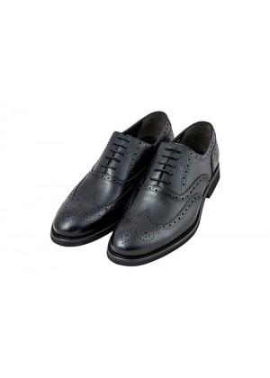 Туфли броги черные с перфорированным носиком
