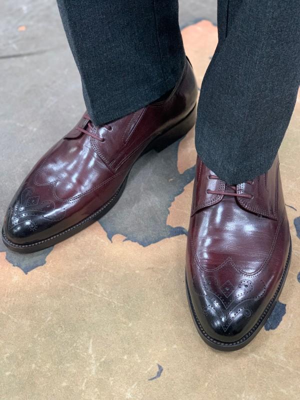 Туфли бордовые классические с бронированным носом