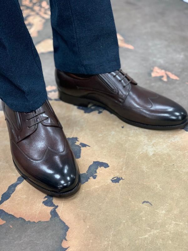 Туфли коричневые дерби с отстроченным носом
