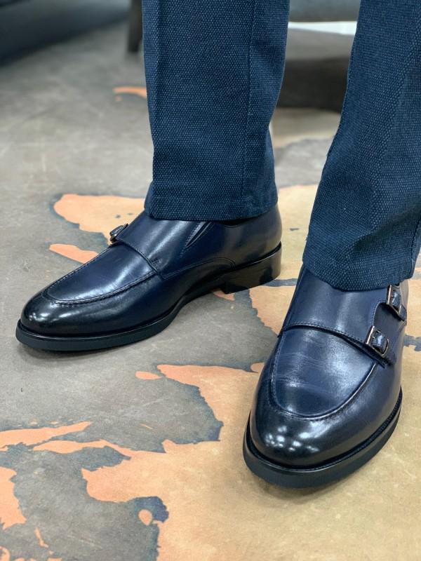 Туфли монки синие