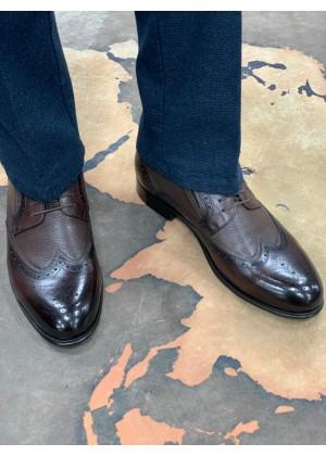 Туфли броги коричневые , комбинированная кожа