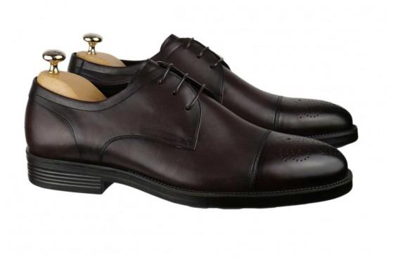 Туфли коричневые оксфорды с брогированным носом