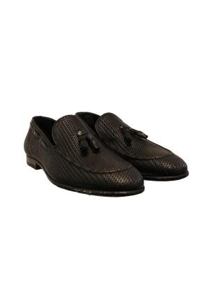 Туфли лоферы черные с кисточками