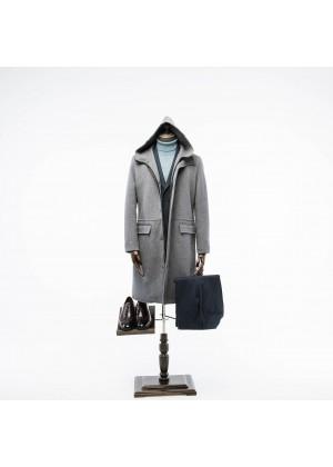 Пальто серое на замке, удлиненное с капюшоном , без подкладки