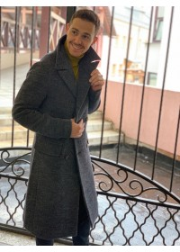 Пальто двубортное серое , осеннее-зима