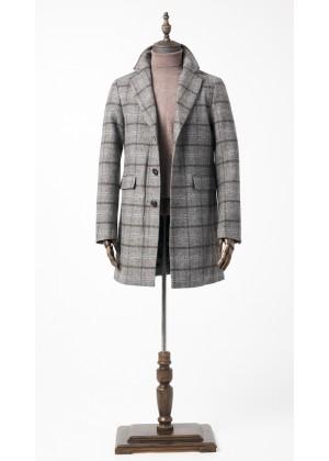 Пальто серое в коричневую клетку