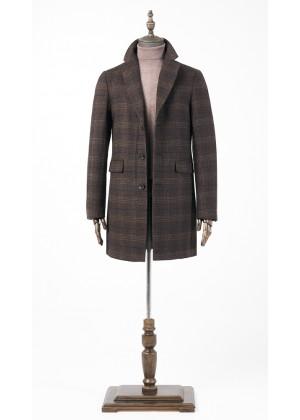 Пальто коричневое в клетку