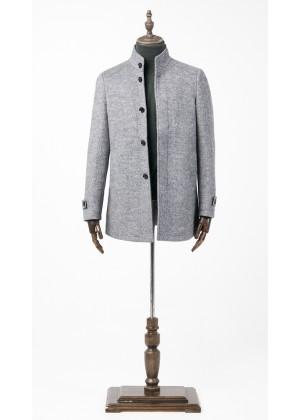 Пальто серое утепленное