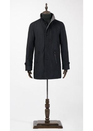 Куртка - плащ синяя, утепленная с шерстяной серой отделкой