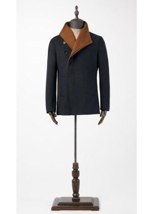 Пальто синее с рыжим косуха , утепленное