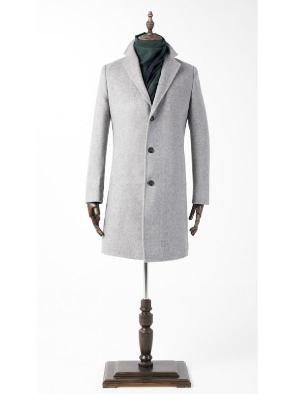 Пальто светло серое утепленное удлиненное