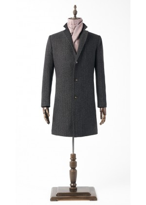 Пальто коричневая елочка утепленное удлиненное