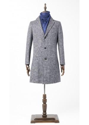 Пальто светло синее утепленное удлиненное