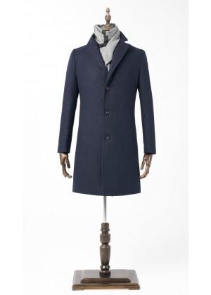 Пальто синее фактурная ткань утепленное удлиненное