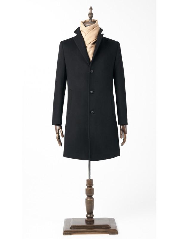 Пальто черное утепленное удлиненное