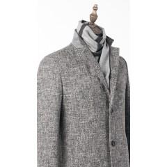 Пальто серое утепленное удлиненное
