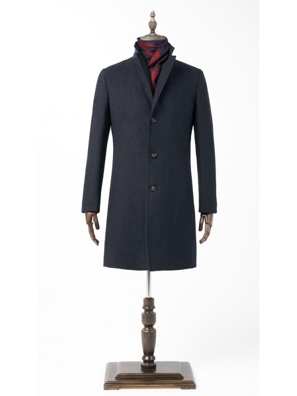 Пальто синее фактурное утепленное