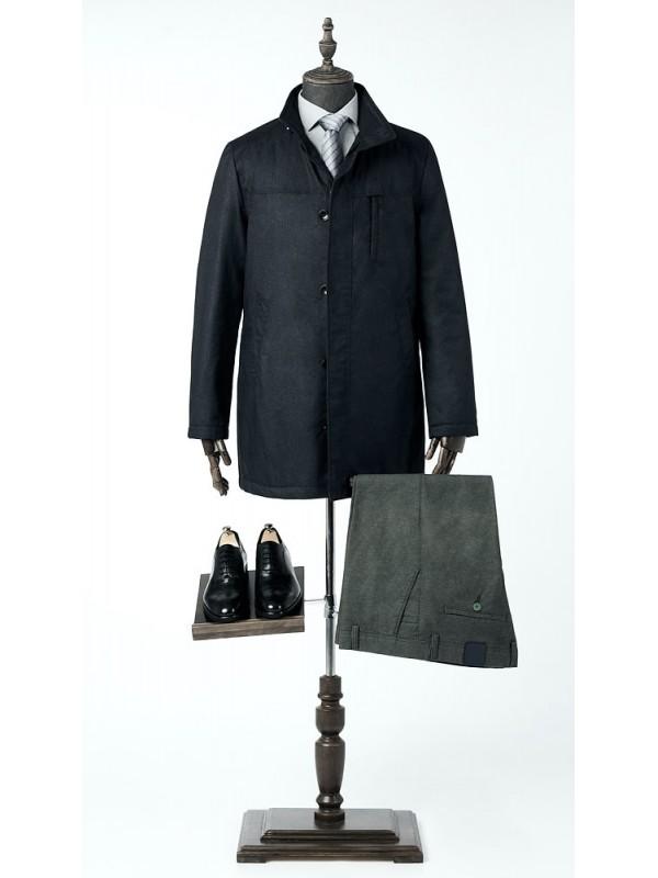 Куртка-пальто черная удлиненная , утепленная