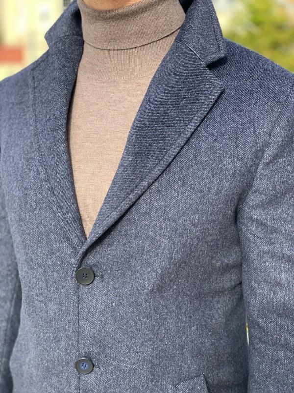 Пальто утепленное цвет индиго