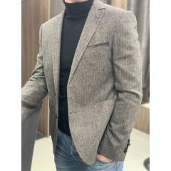 Пиджак твидовый серый в елочку