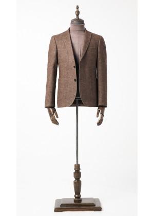 Пиджак коричневый рисунок елочка