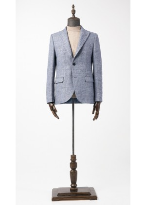Пиджак голубой фактурный со стрейчем