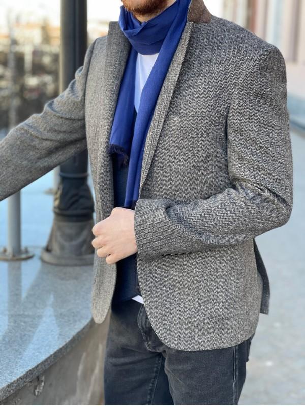 Пиджак твидовый коричневый рисунок  елочка