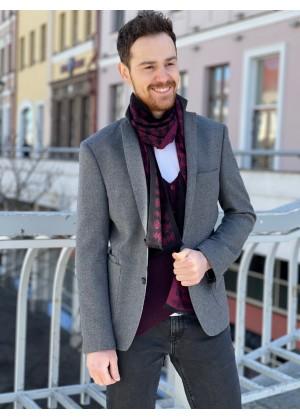 Пиджак твидовый серый
