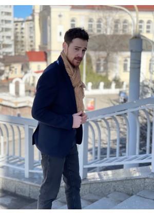 Пиджак твидовый синий