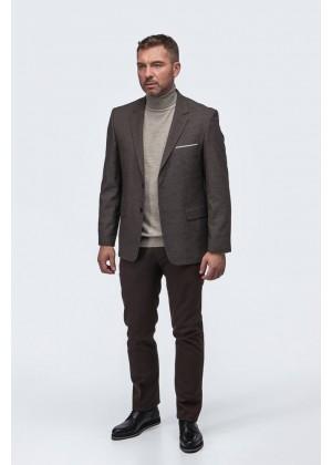 Пиджак коричневый фактурная ткань