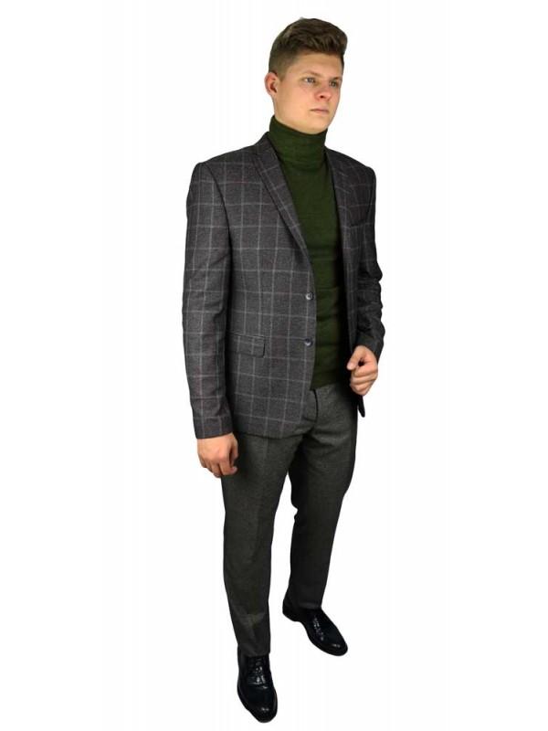 Пиджак шерстяной твид клетка коричневый