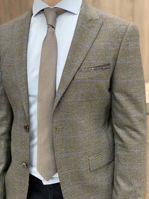 Пиджак коричневый в голубую клетку