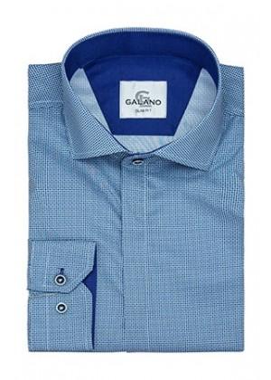 Рубашка голубая в рисунок с синей отделкой