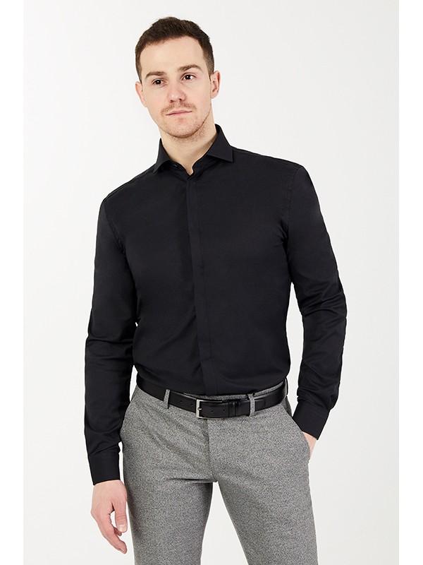 Рубашка черная с лайкрой , ткань фактурная