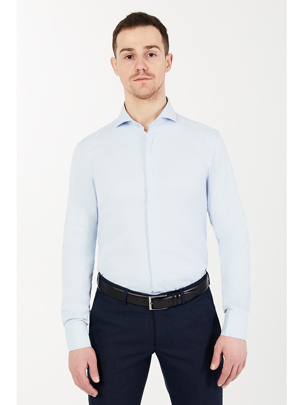 Рубашка голубая с лайкрой, ткань фактурная