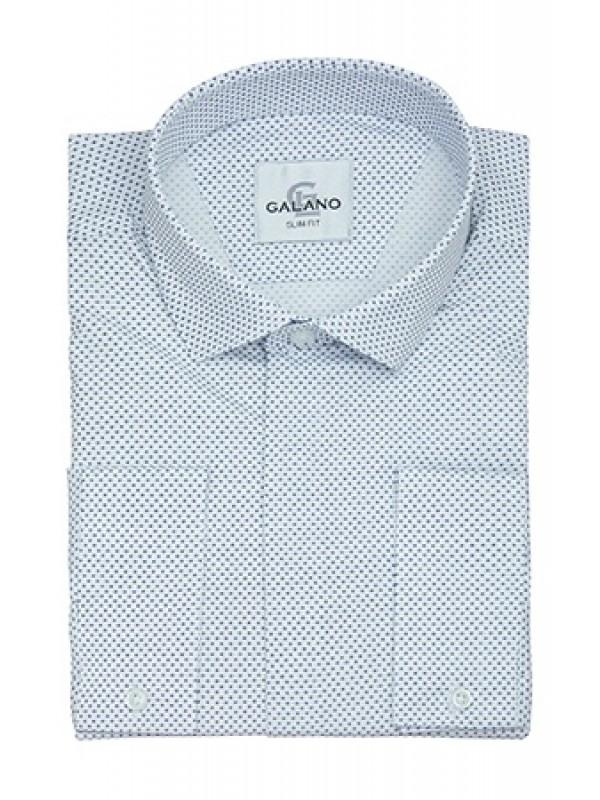 Рубашка белая в мелкий рисунок со стрейчем